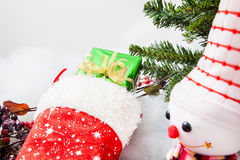 Christmas stocking with gift box and christmas snowman Royalty Free Stock Images