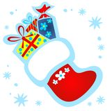Christmas stocking with gifts Stock Images
