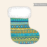 Christmas stocking for gifts. Decorative pattern Royalty Free Stock Image