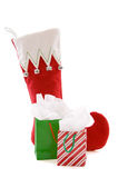 Christmas stocking and gifts Royalty Free Stock Photos