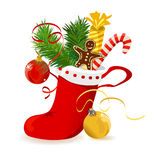 Christmas stocking with gifts on white background Stock Image