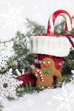 Christmas Stocking with Gingerbread Cookie royalty free stock image