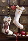 Christmas stocking with golden gift Stock Images