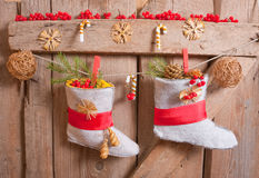 Christmas stocking hanging Royalty Free Stock Images
