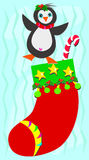 Christmas Stocking with Happy Penguin Royalty Free Stock Images