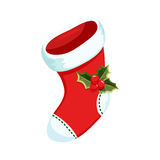 Christmas stocking with holly Royalty Free Stock Photography