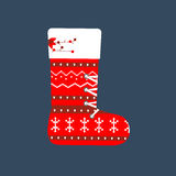 Christmas Stocking illustration. On the blue background. Vector illustration Stock Images