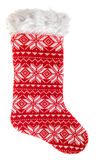 Christmas stocking. Knitted red sock for gifts Royalty Free Stock Photo