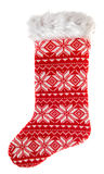 Christmas stocking. knitted sock for gifts. winter holidays symb Stock Image