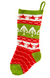 Christmas stocking. knitted sock for Santa's gifts. winter holid Royalty Free Stock Photography