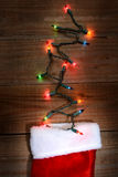 Christmas Stocking and Lights Royalty Free Stock Photography