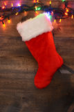 Christmas stocking with lights Stock Images