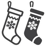 Christmas Stocking line and glyph icon vector illustration