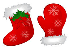Christmas Stocking and Mitten Stock Images