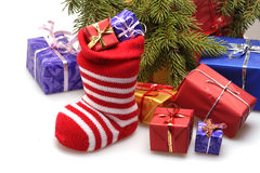 Christmas stocking and presents Royalty Free Stock Photo