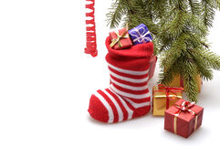 Christmas stocking and presents Stock Image