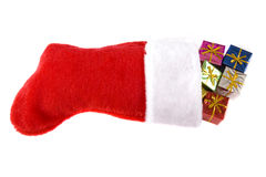 Christmas stocking and presents Royalty Free Stock Photography
