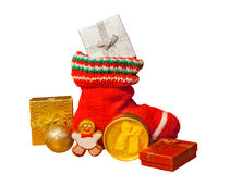 Christmas stocking with presents isolated on white background Stock Images