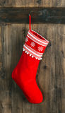 Christmas stocking. Red sock for Santa gifts. Holidays decoratio Stock Photo