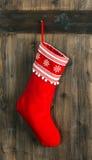 Christmas stocking. Red sock for Santa gifts. Holidays decoratio Stock Photo