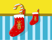 Christmas stocking with reindeer Royalty Free Stock Photos
