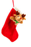 Christmas stocking with rudolph Royalty Free Stock Image