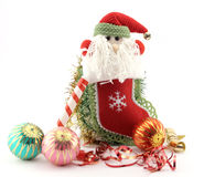 Christmas stocking with Santa Stock Photography