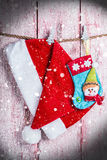 Christmas stocking and Santa hat Stock Image