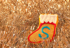 Christmas stocking shaped colorful cookie Stock Images