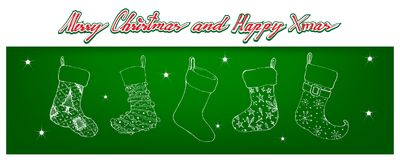 Christmas Stocking, Sock, Stock, Gift, Present, Gift, New Year Eve, Ornament, Merry Xmas, Holiday,. Illustration Hand Drawn Sketch of Checked Christmas Stockings royalty free illustration