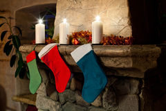 Free Christmas Stocking Socks On Fireplace Background Stock Photo - 60589460