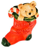Christmas Stocking with Stuffed Bear Royalty Free Stock Image