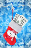 Christmas Stocking Stuffed with Money Stock Photos