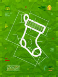 Christmas stocking symbol as technical blueprint drawing Royalty Free Stock Image