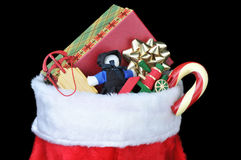 Christmas Stocking with Toys Royalty Free Stock Photos