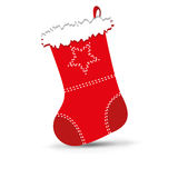 Christmas stocking. Vector illustration of shiny red Christmas stocking waiting for Santa Stock Photography