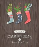 Christmas stocking with vintage decoration Stock Image