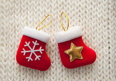 Christmas stocking on white background Stock Photo