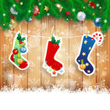 Christmas stocking on wooden background Royalty Free Stock Photos