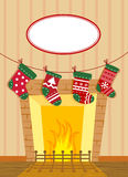 Christmas Stockings. By the Fireplace Stock Images