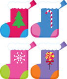 Christmas Stockings. Set of 4 chirstmas stockings Stock Photos
