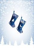 Christmas stockings in blue Royalty Free Stock Photo