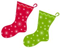Christmas Stockings Clip Art 2. A clip art illustration of Christmas Stockings  isolated on white - your choice of red or green Royalty Free Stock Image