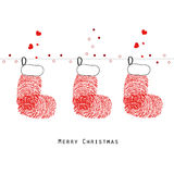 Christmas stockings with fingerprints greeting card vector Royalty Free Stock Photos