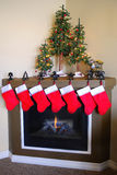 Christmas Stockings and Fireplace Royalty Free Stock Photos