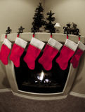 Christmas Stockings and Fireplace Royalty Free Stock Photo