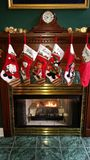 Christmas stockings. Fireplace with Christmas stockings Royalty Free Stock Photo