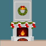 Christmas stockings. By the fireplace illustration made in flat style Royalty Free Stock Photo