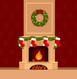 Christmas stockings. By the fireplace illustration made in flat style Royalty Free Stock Photography