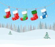 Christmas Stockings For Presents Stock Photography